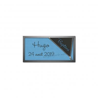 Etiquette dragees gris foncé et bleu