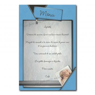 carte de menu avec photo caché dans fermeture eclair