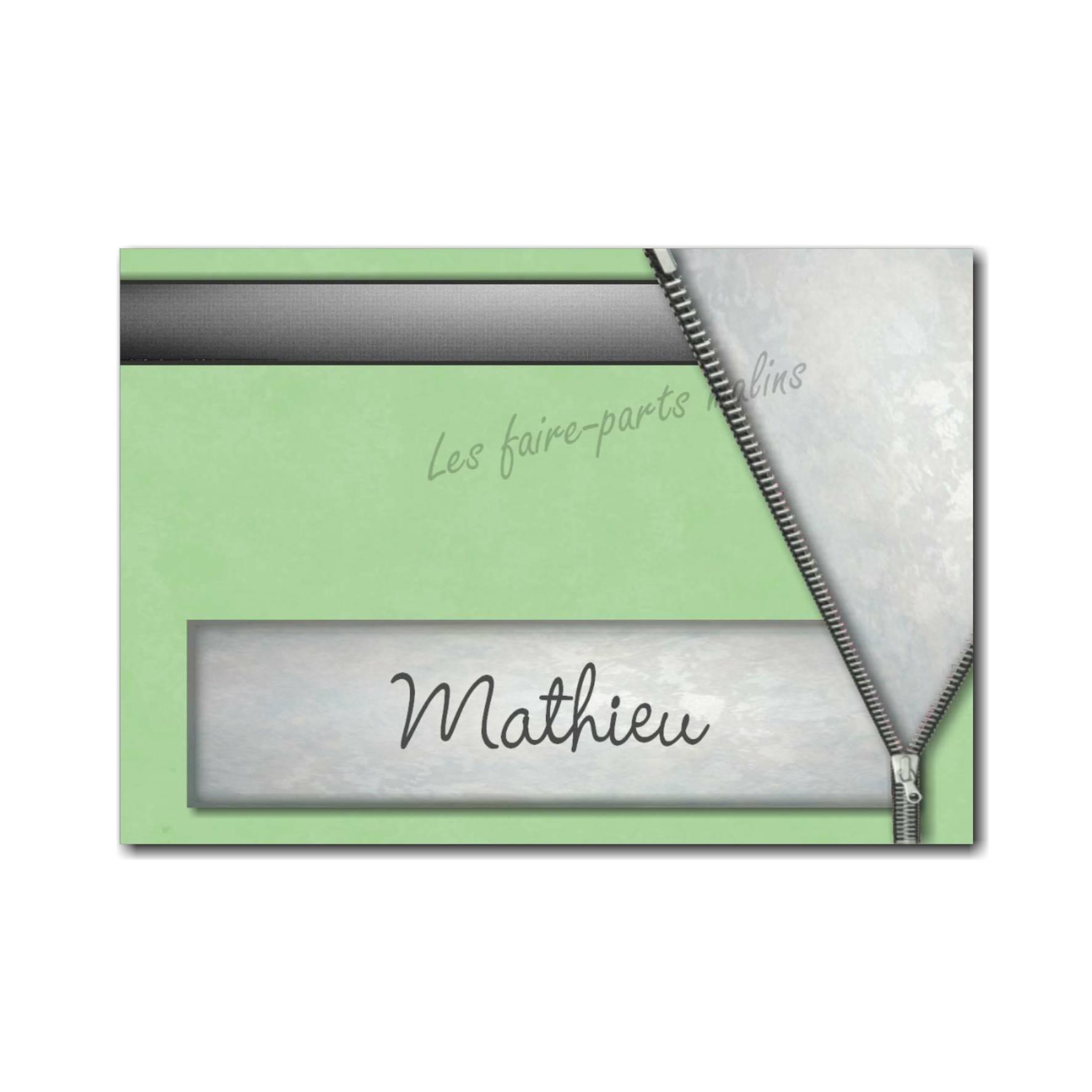 marque-place vert et gris