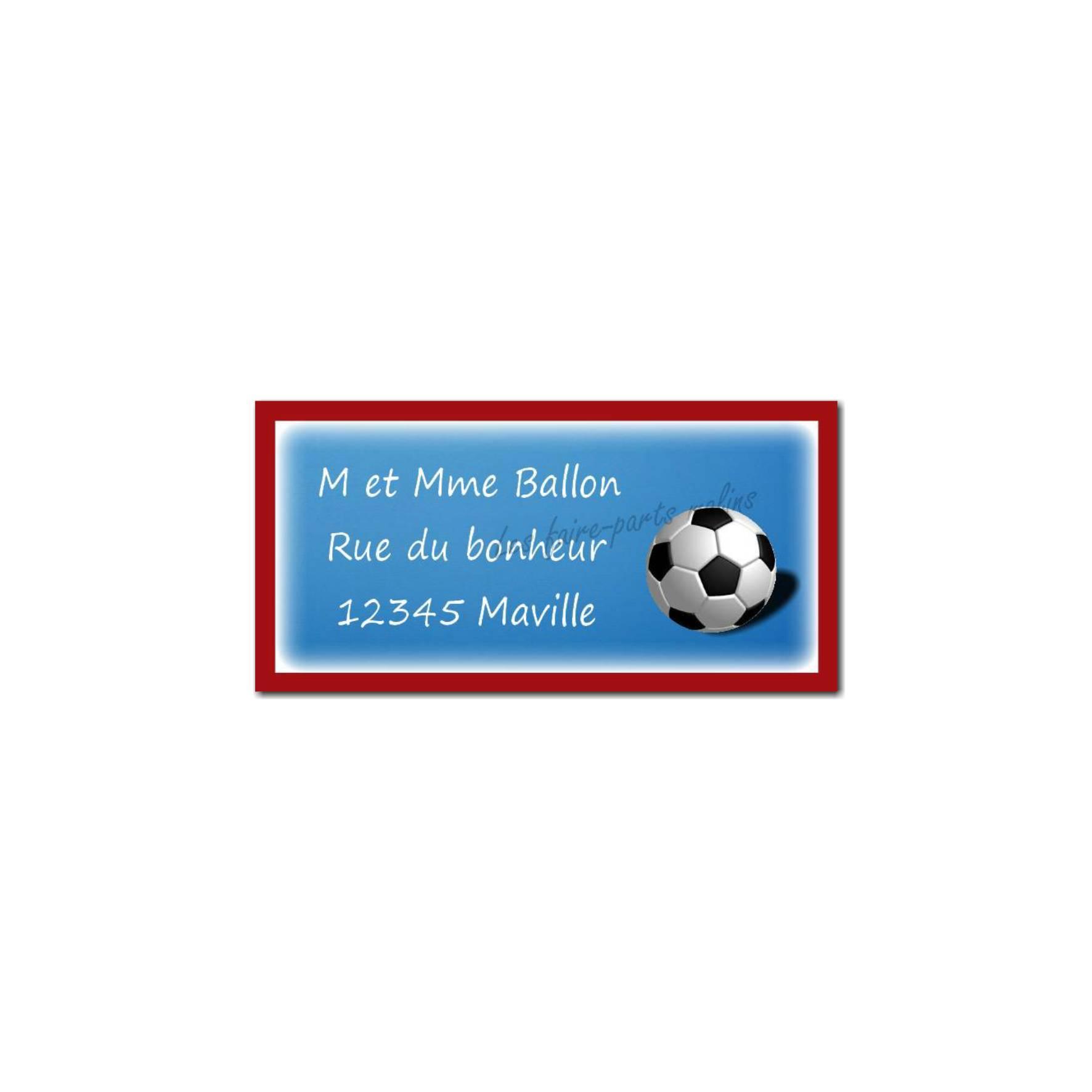 étiquette adresse ballon de foot