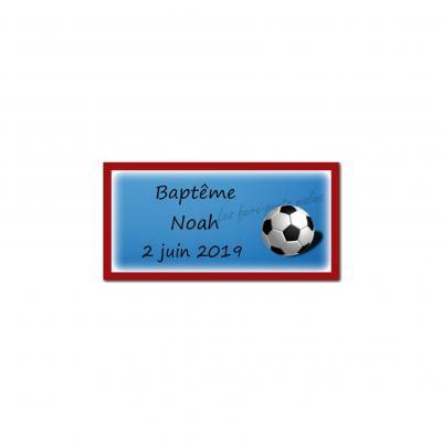 Etiquette dragees ballon de foot bleu blanc rouge