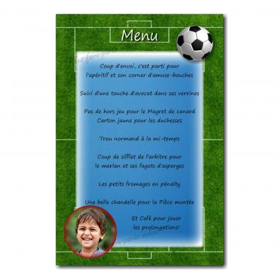 carte de menu avec photo et ballon de foot
