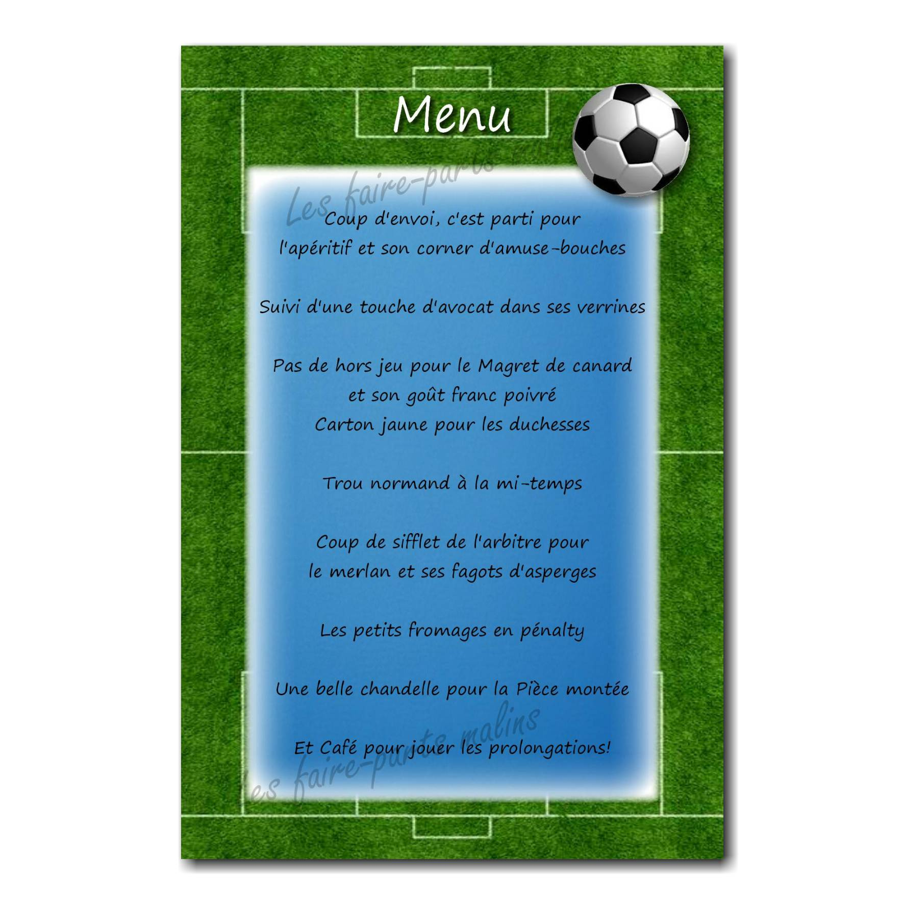 carte de menu terrain de foot et ballon
