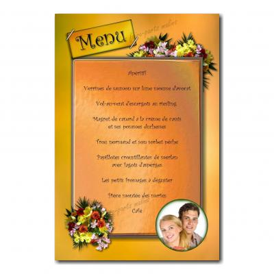 carte de menu fleur jaune orange sur fond clair