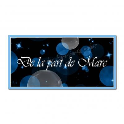 Etiquettes cadeau à personnaliser bulle bleu sur fond sombre