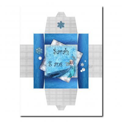 Boite dragées reine des neiges flocon bleu et blanc