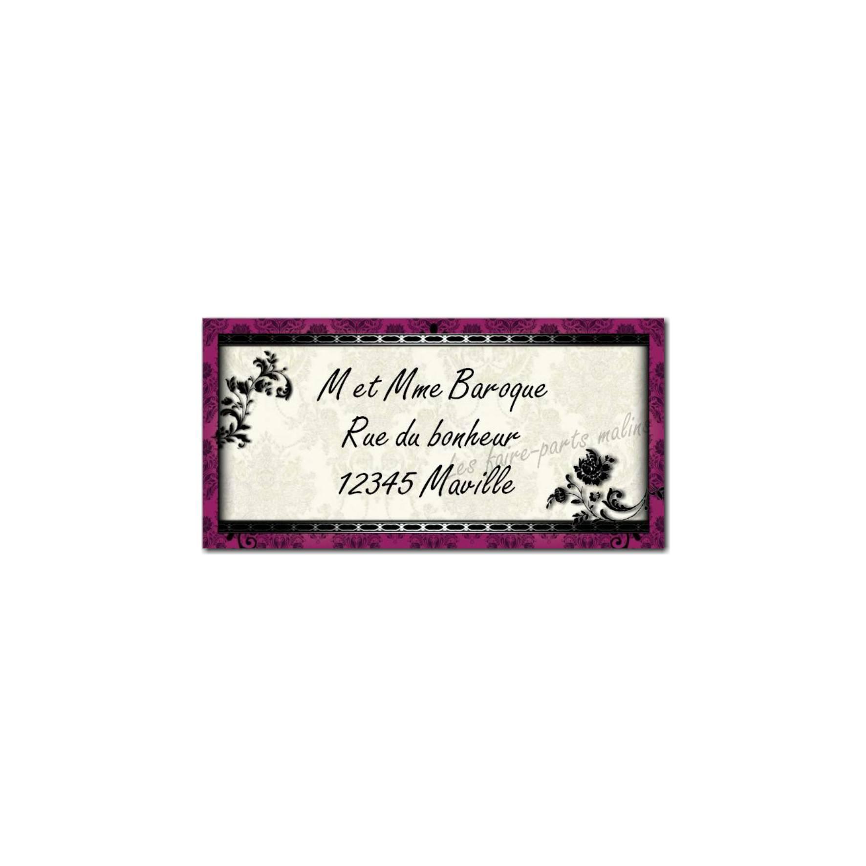 étiquette adresse baroque