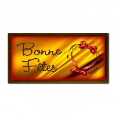 Etiquettes cadeau à personnaliser avec fond or et ruban rouge
