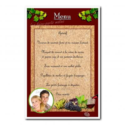 carte de menu raisin vin fond bordeaux