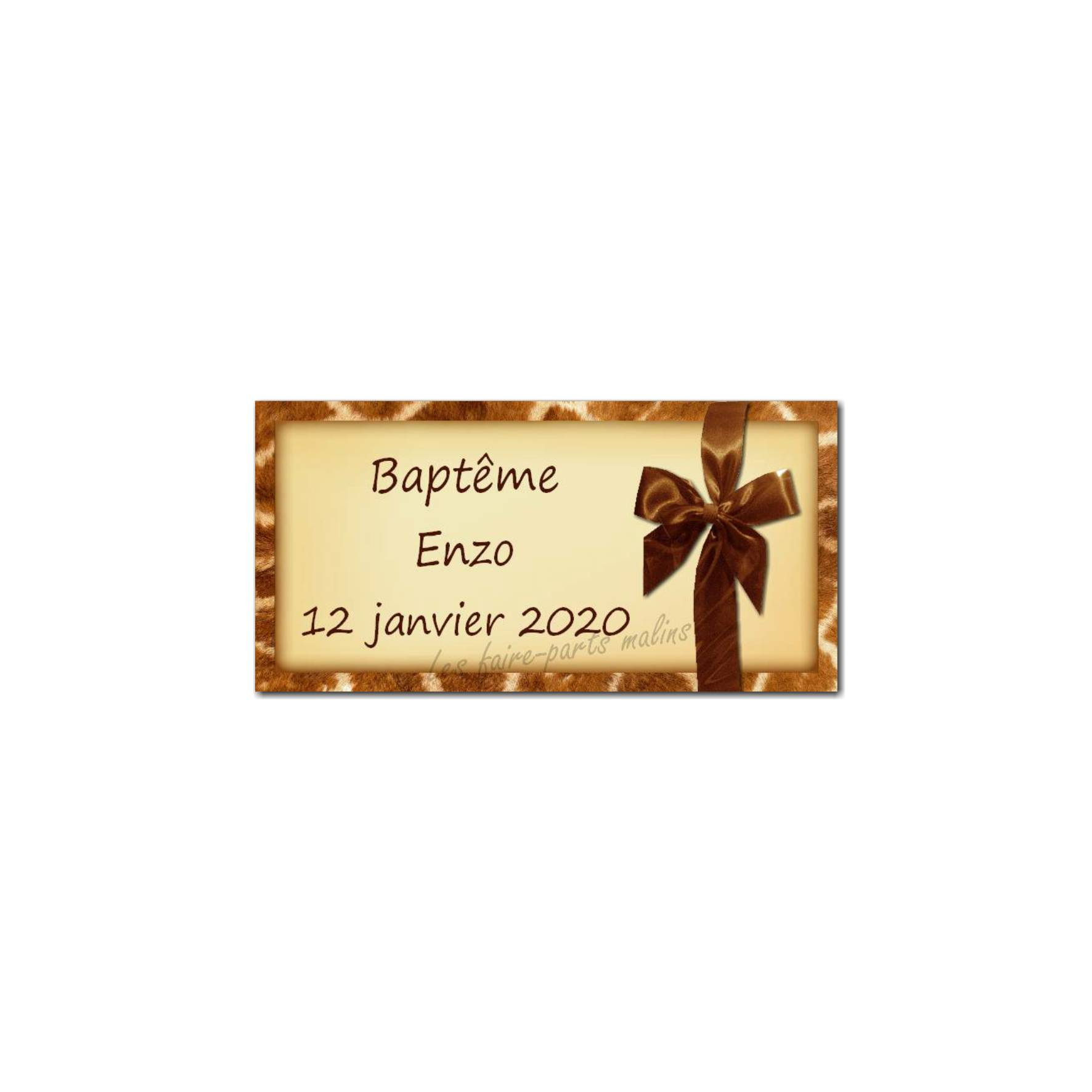 Etiquette dragées fond girafe et ruban marron