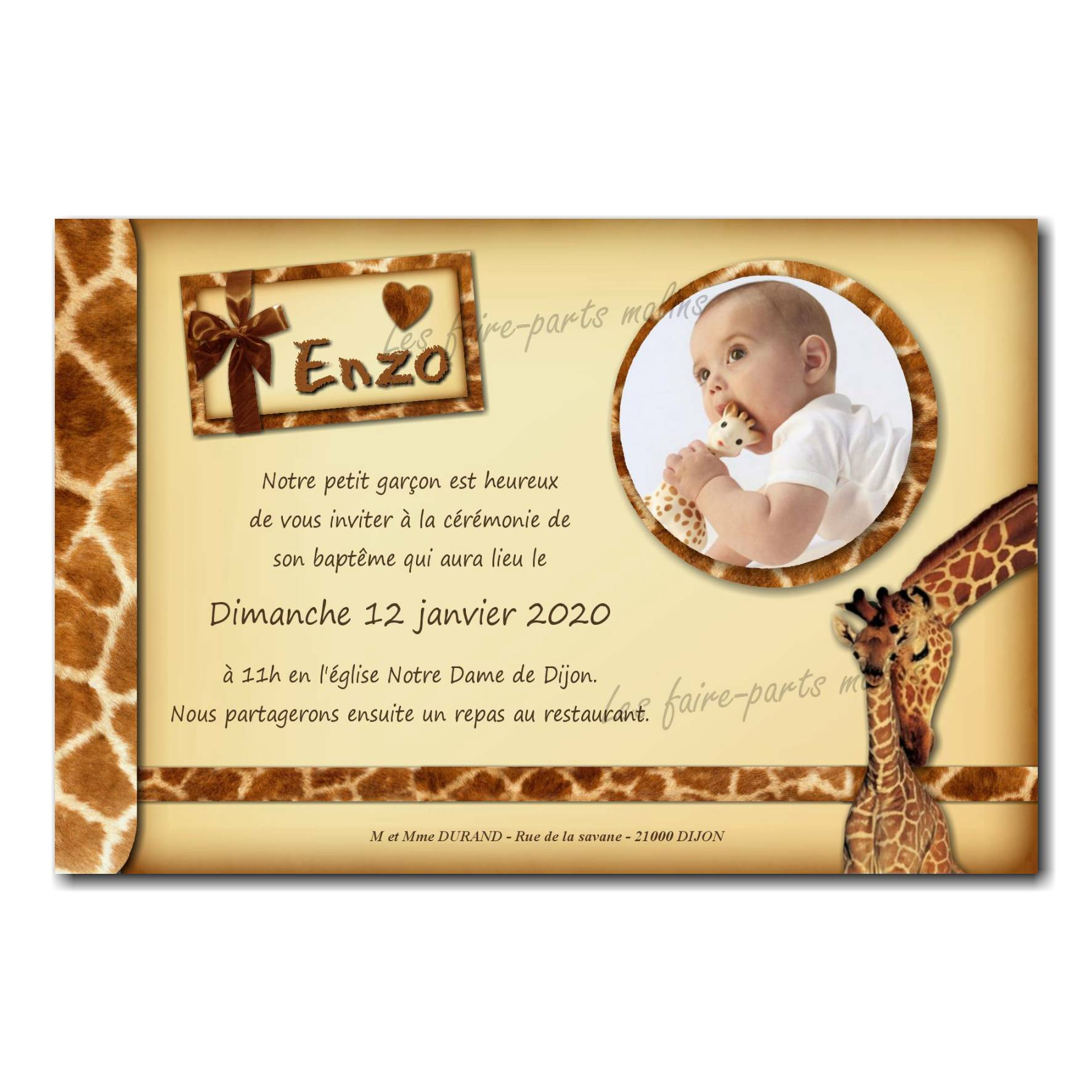 Faire part maman girafe avec petit bébé