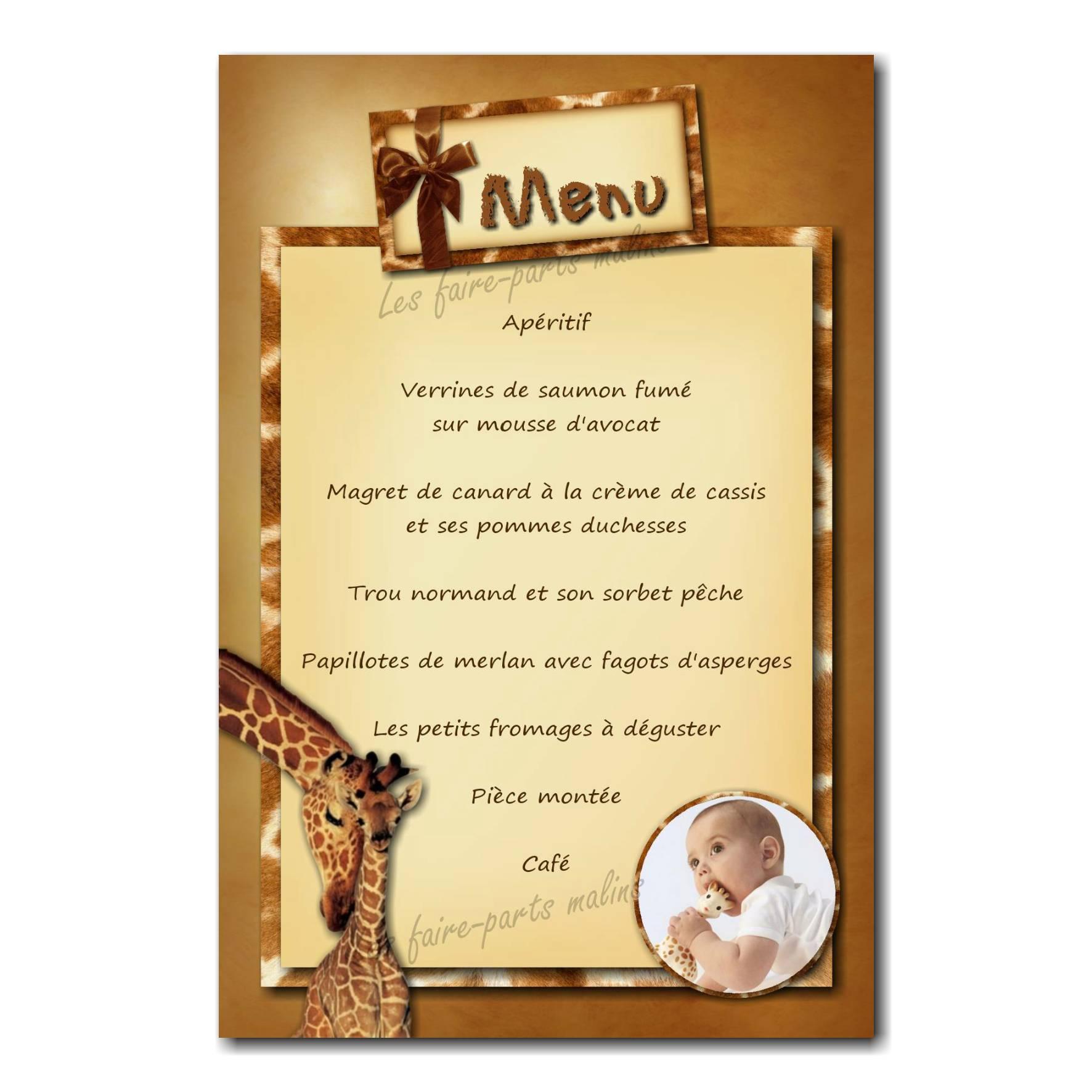 carte de menu avec girafe et fond jaune