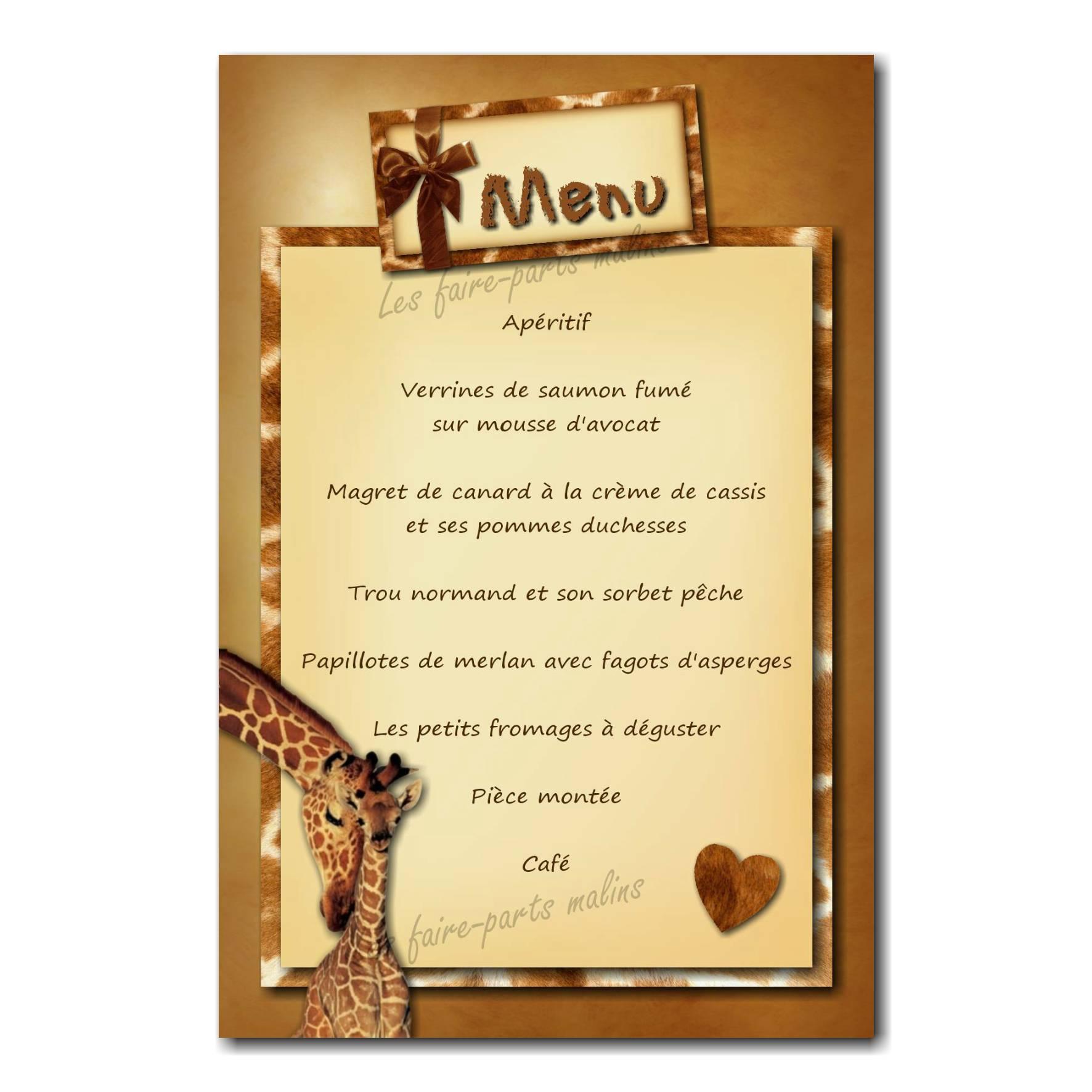 carte de menu maman girafe sophie