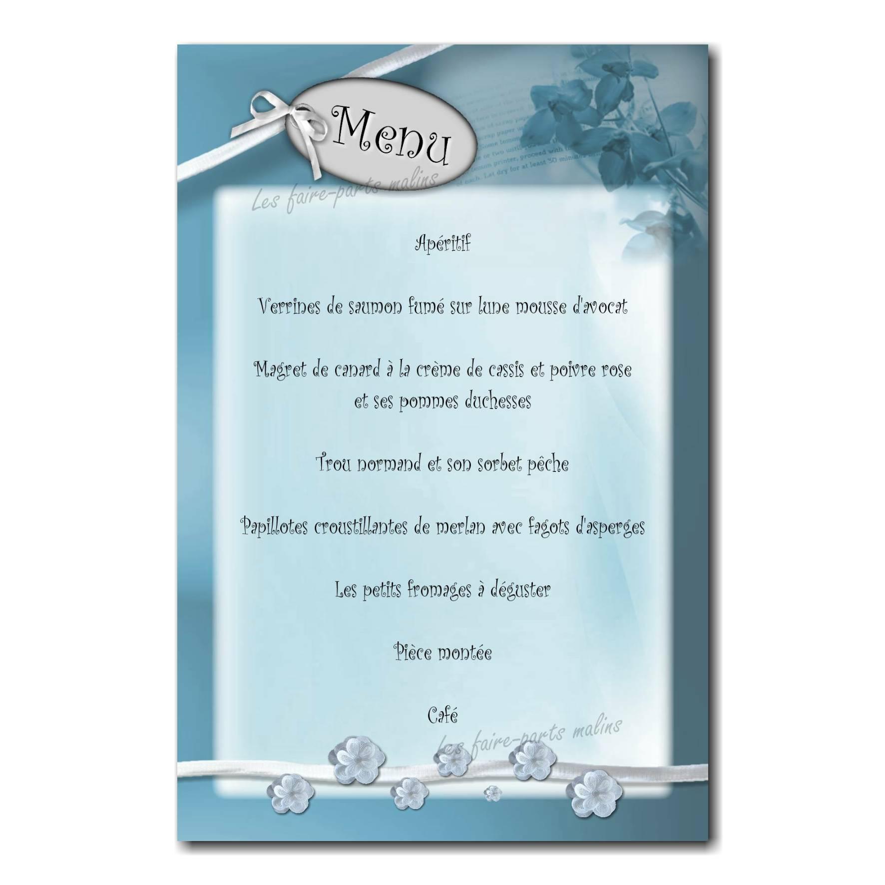 carte de menu ruban blanc et fond bleu