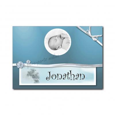 Marque-place avec photo et ruban bleu et gris
