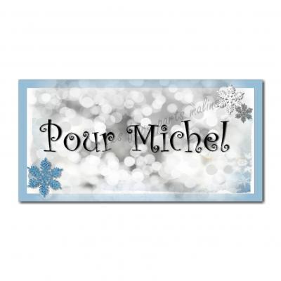 Etiquettes cadeau à personnaliser avec flocon bleu