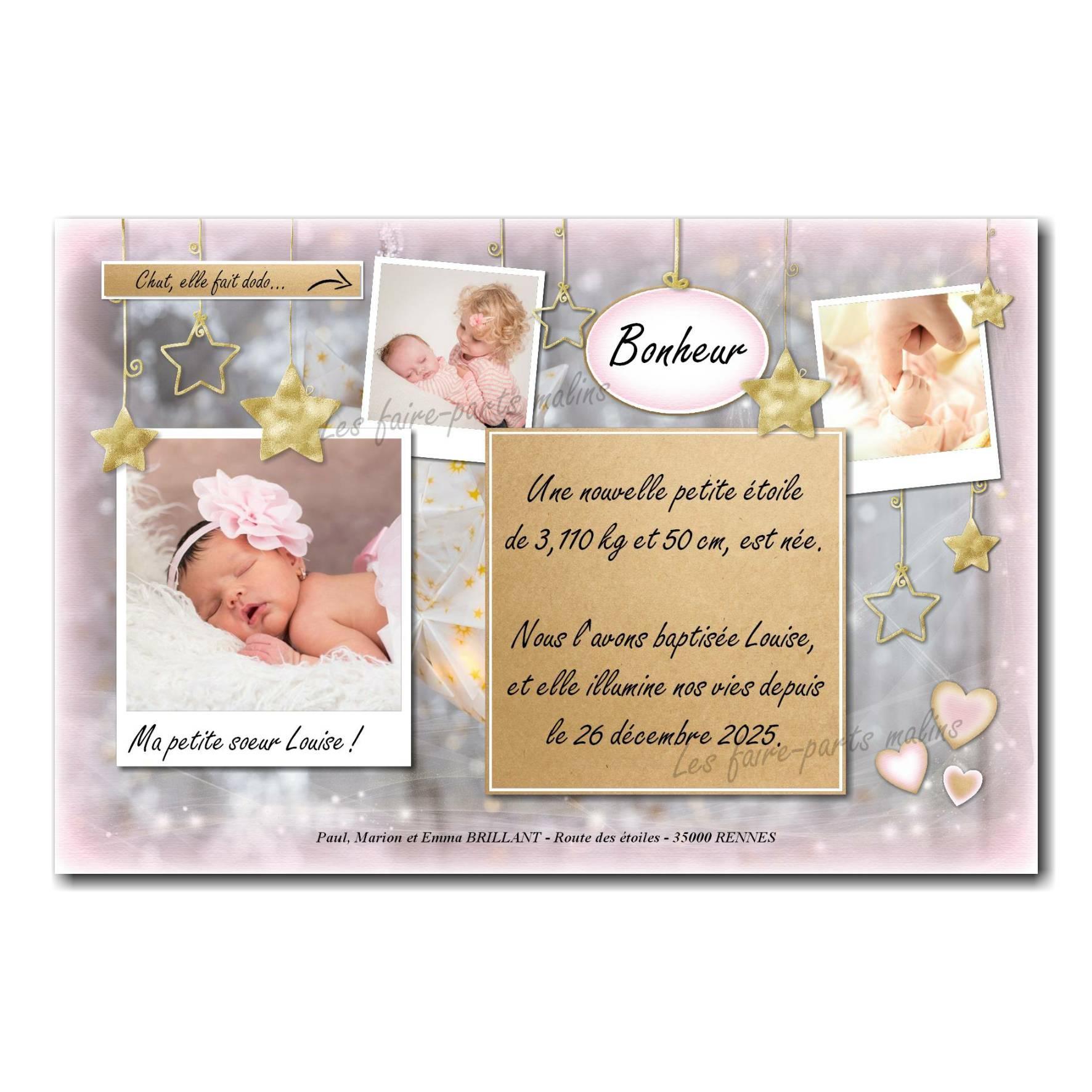 faire-part rose et gris avec petites étoiles dorées pour bébé fille