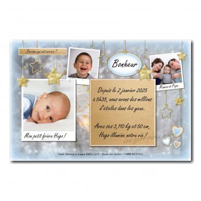 faire-part bleu et gris avec petites étoiles dorées pour bébé garçon