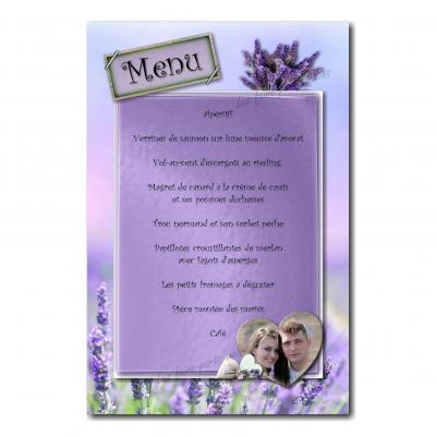 carte de menu bouquet de lavande violet