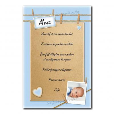 carte de menu avec photo corde et pince à linge en bleu et marron