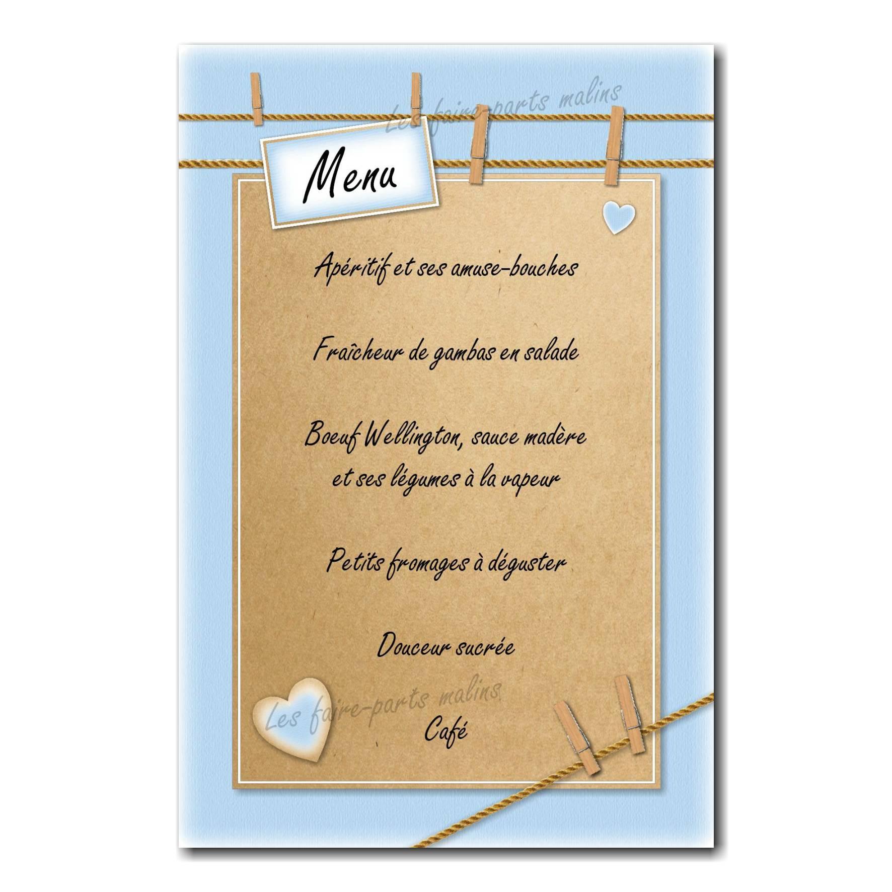carte de menu corde à linge et pinces en bois