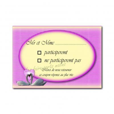 coupon réponse rose avec cygne sur fond jaune