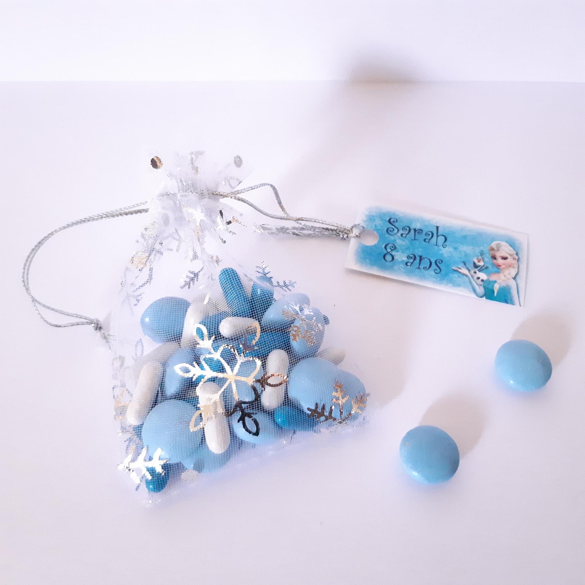 Sachet dragées avec étiquette reine des neiges elsa bleu