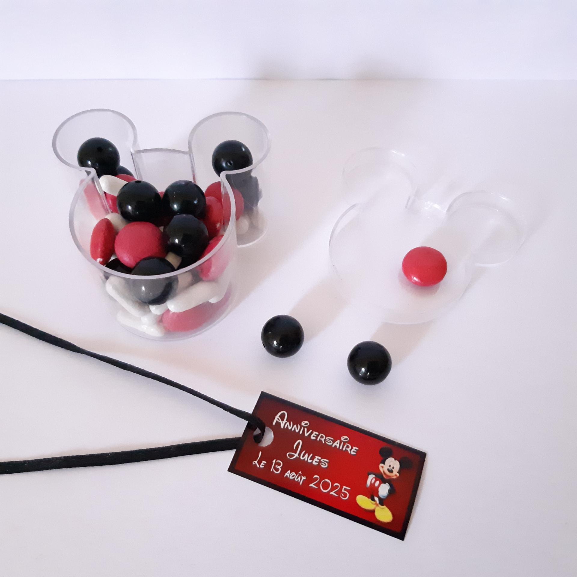 contenant à dragées forme mickey avec étiquette noir et rouge