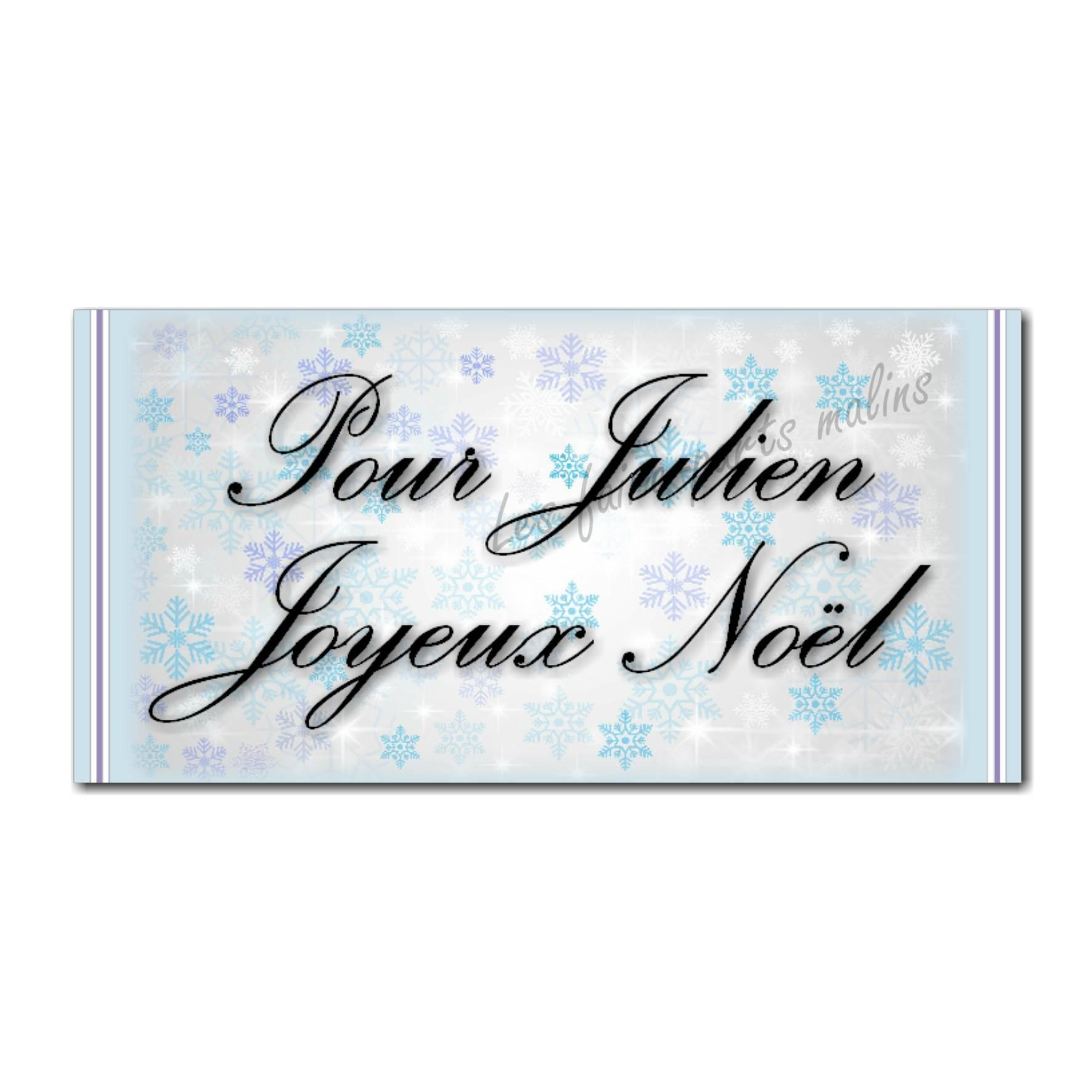 Etiquettes cadeau à personnaliser fond flocon violet et bleu