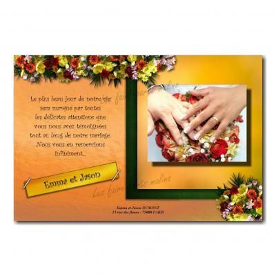 cartes de remerciements fleur jaune et vert