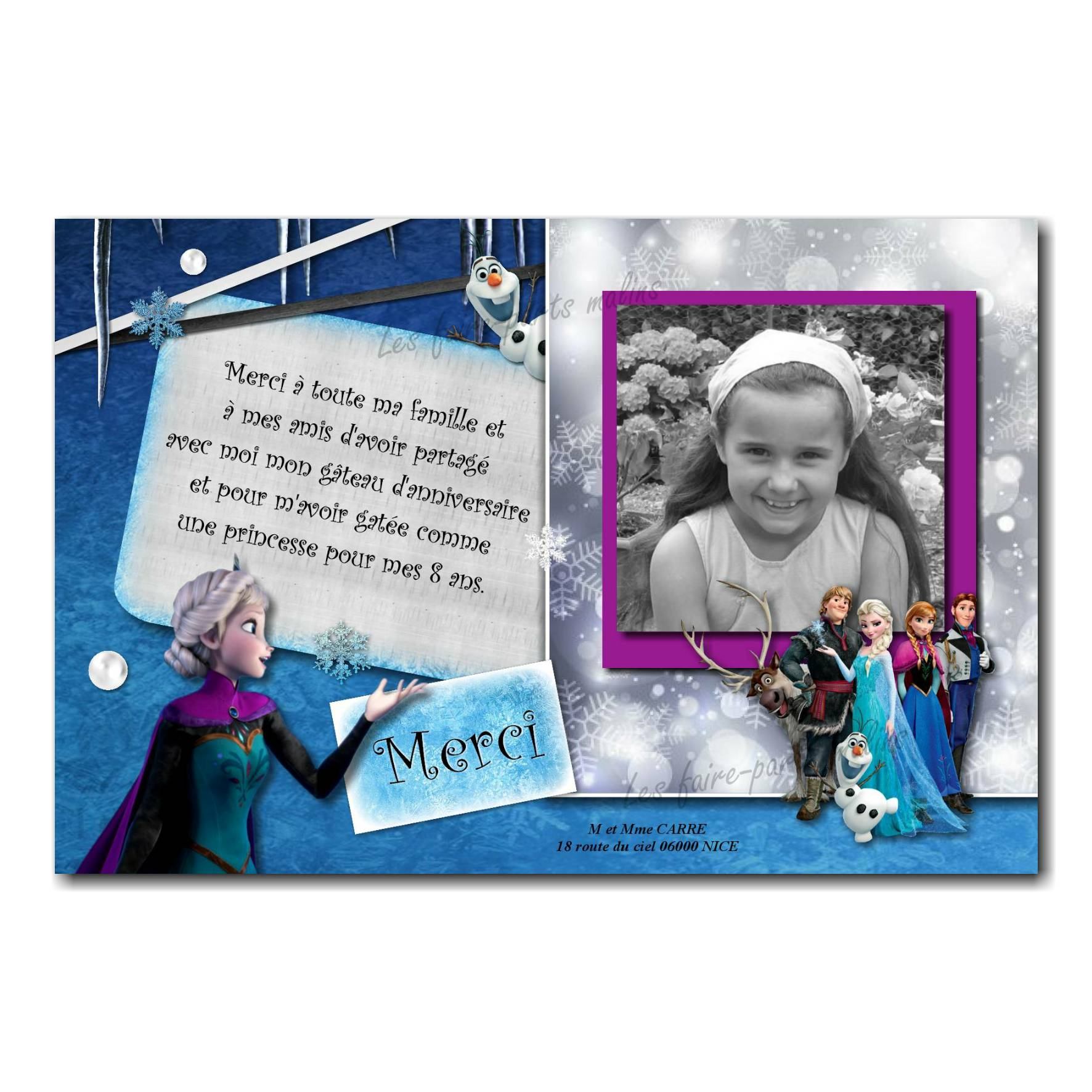 carte de remerciements reine des neiges elsa et sa soeur elsa