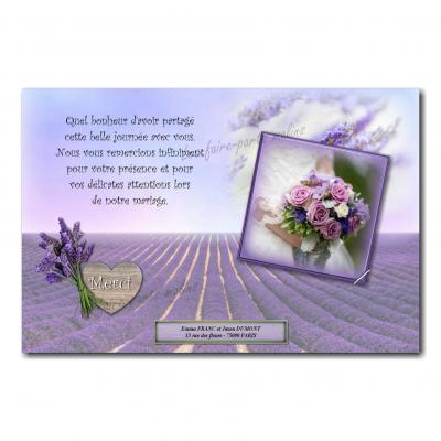 cartes de remerciements champ de lavande violet