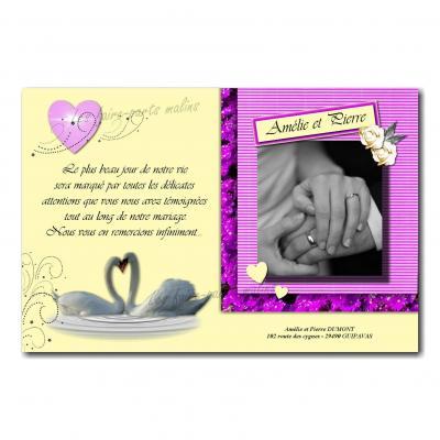 cartes de remerciements cygnes entrelacés coeur violet et fond jaune