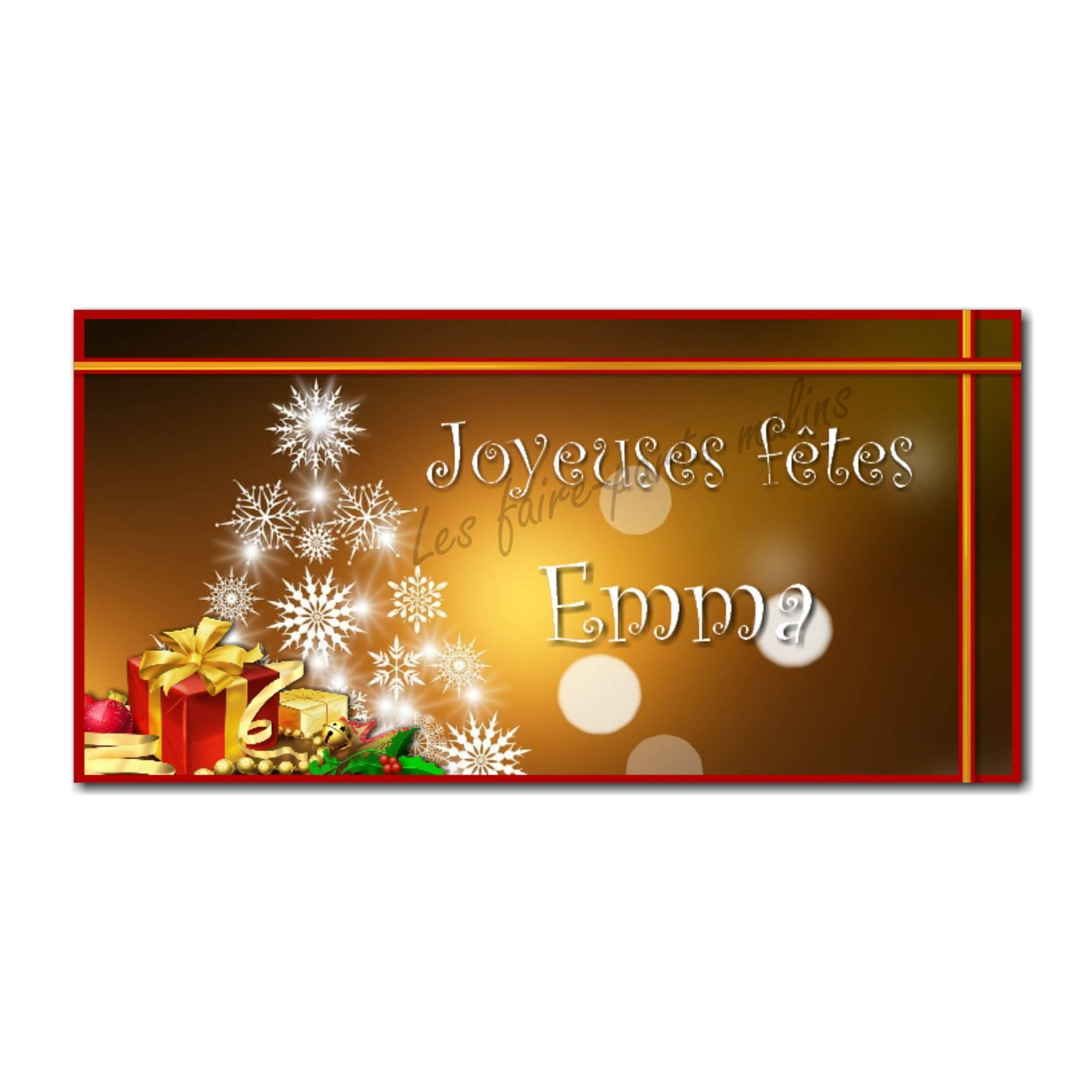Etiquettes cadeau à personnaliser fond doré