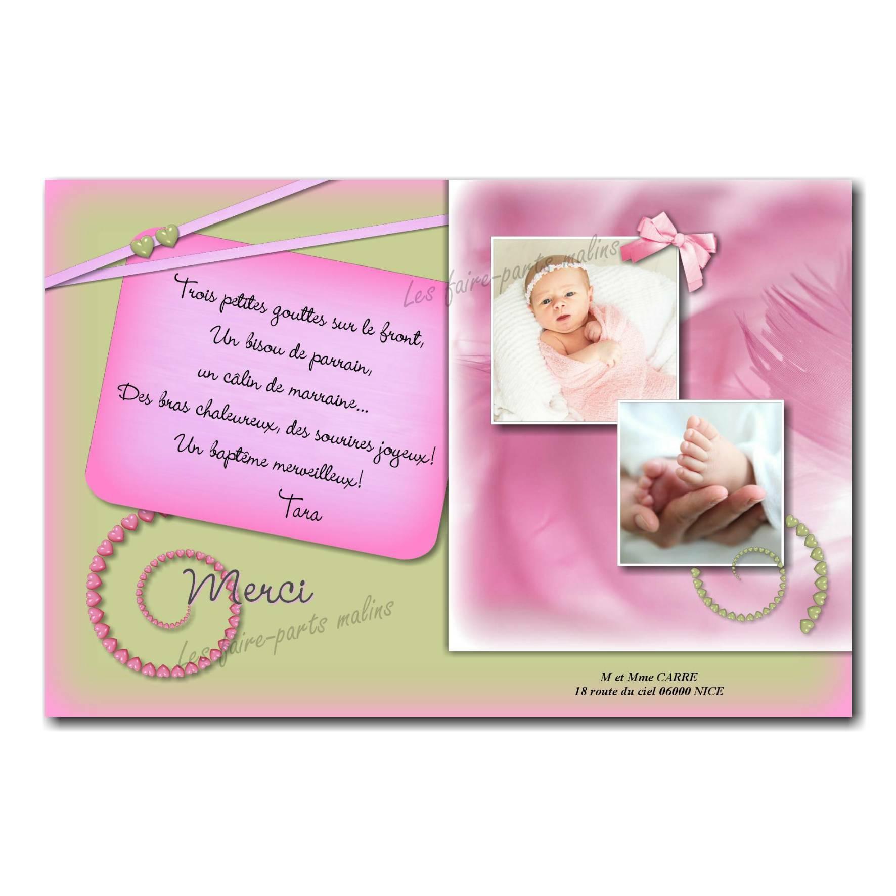 carte de remerciements rose pâle coeurs spirale vert