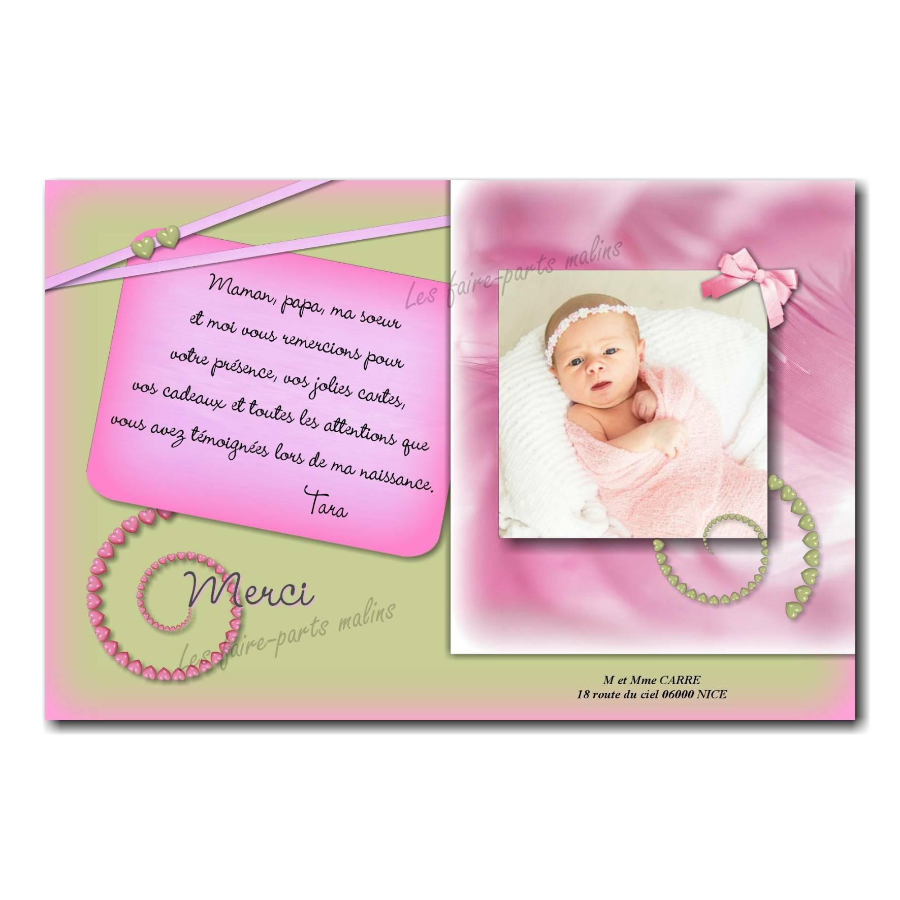 carte de remerciements rose et vert petits coeurs