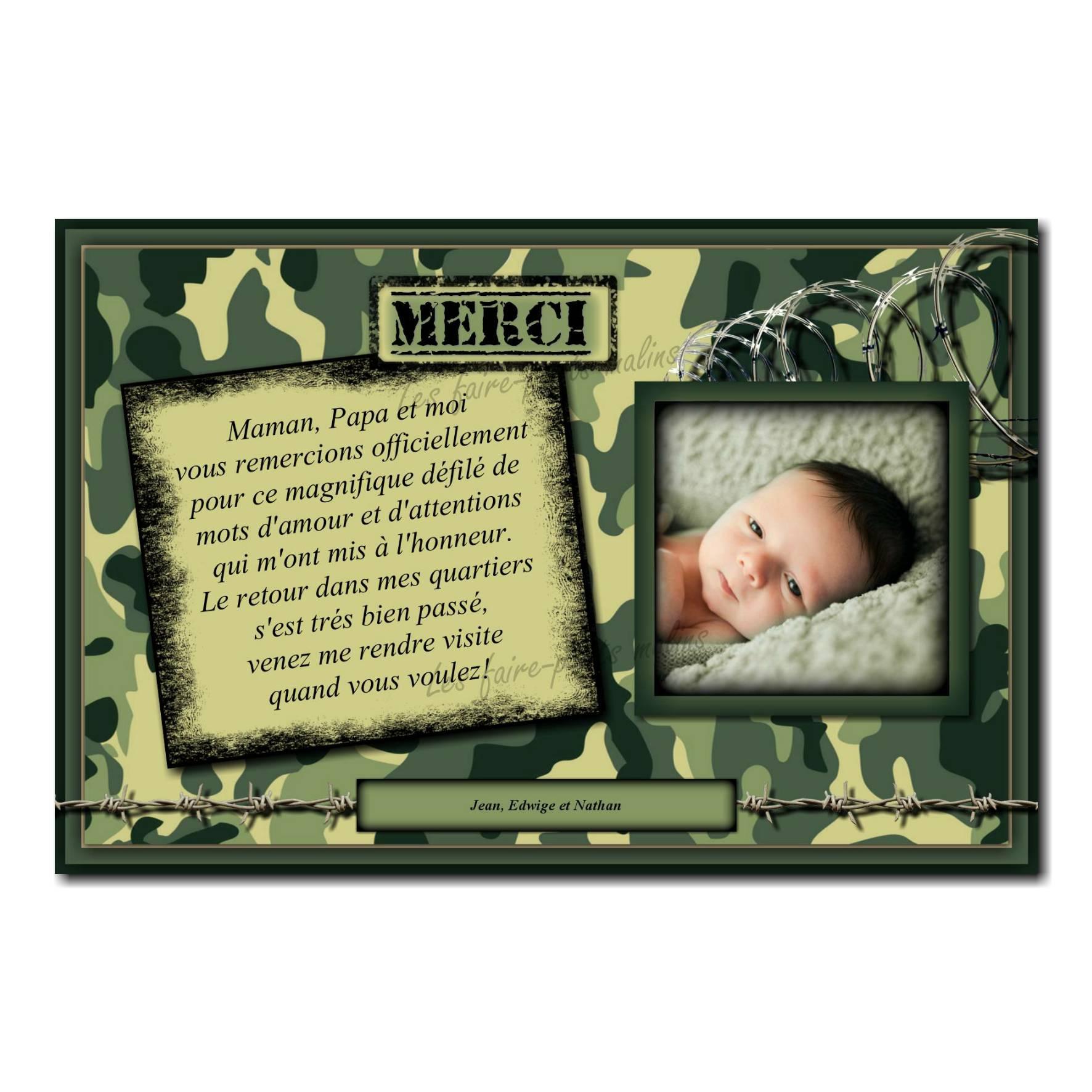 carte de remerciements militaire camouflé avec photo de l'enfant