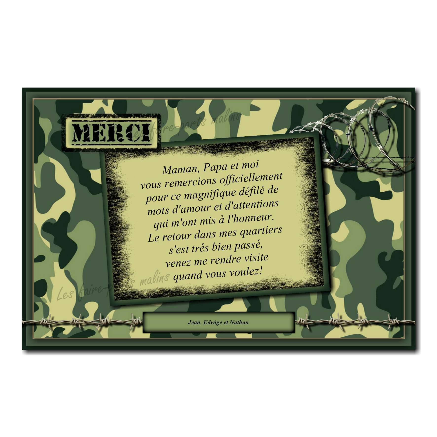 carte de remerciements militaire avec fond bariolé