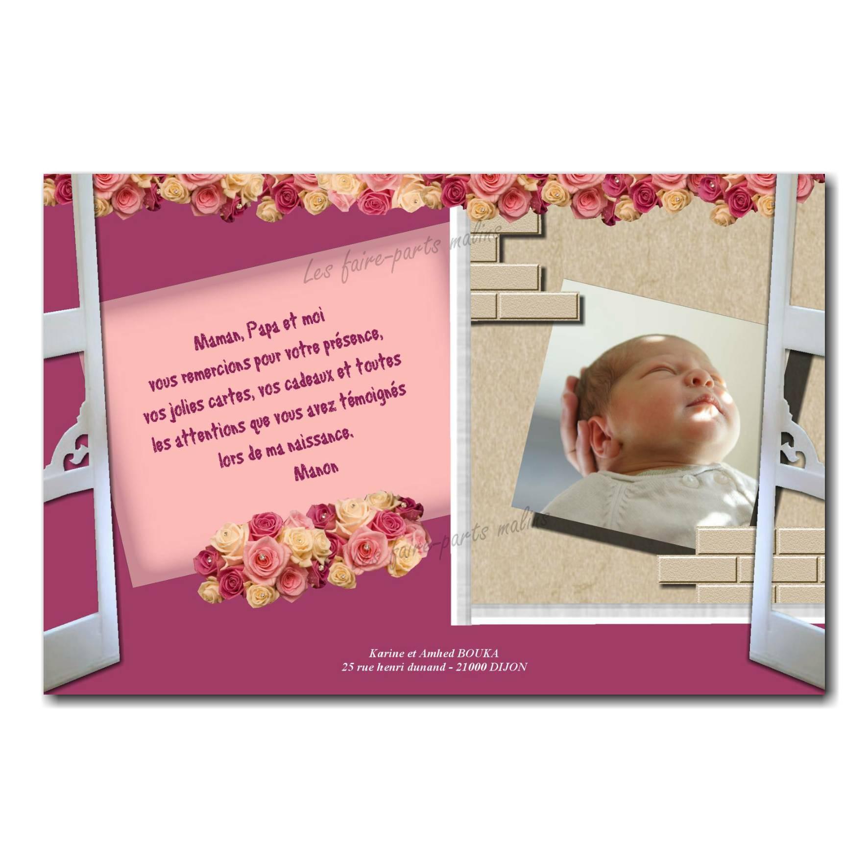 carte de remerciements fenêtre ouverte photo