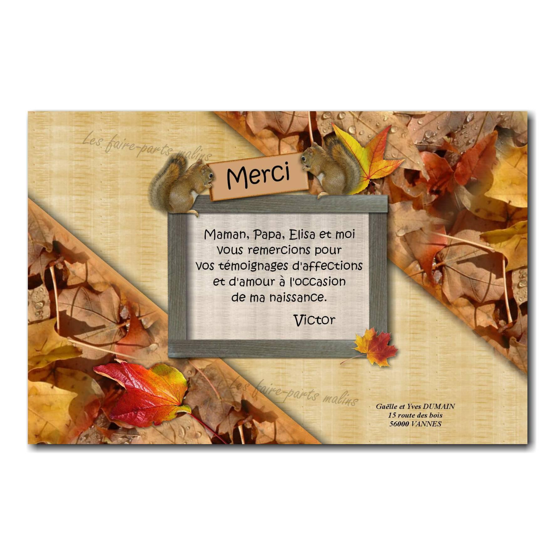 carte de remerciements feuille d'automne et écureuil