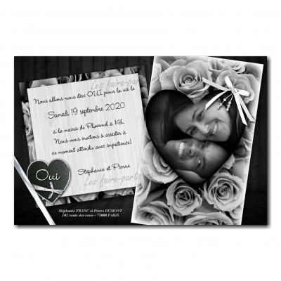 Faire part noir et blanc ruban et coeur photo