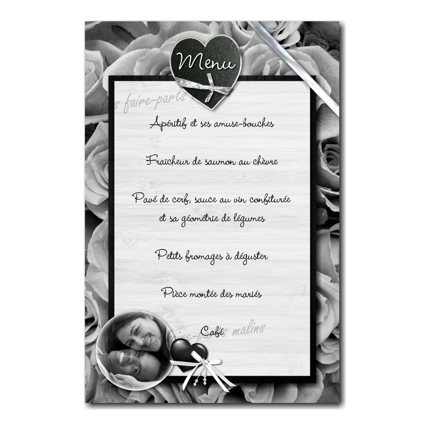 carte de menu noir et blanc fond de roses noires
