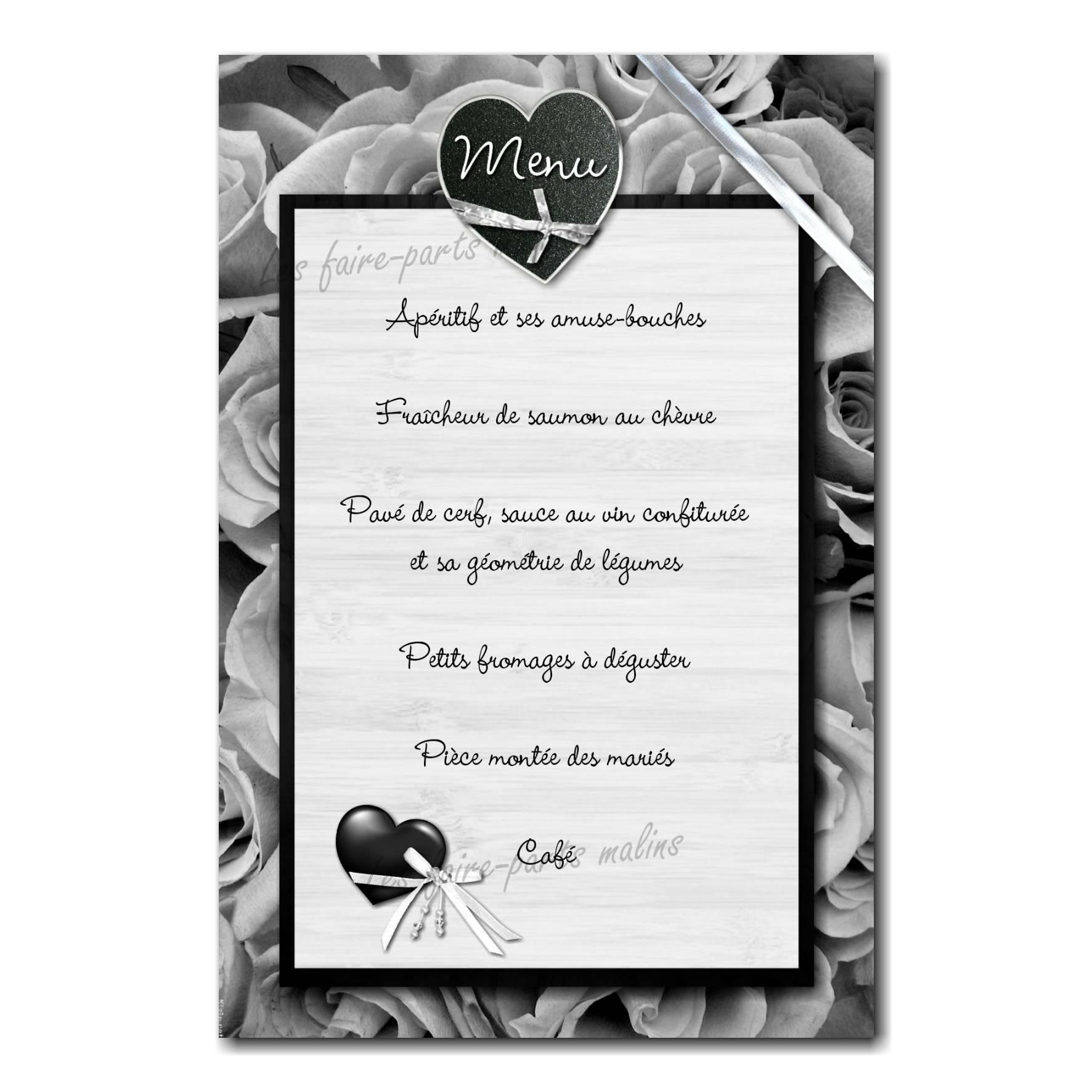 carte de menu coeur en noir et blanc sur fond fleuri