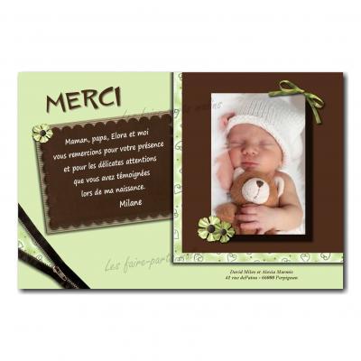 carte de remerciements douceur vert pâle et marron