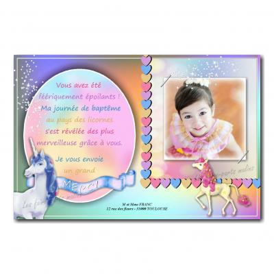 carte de remerciements licorne fille multicolore