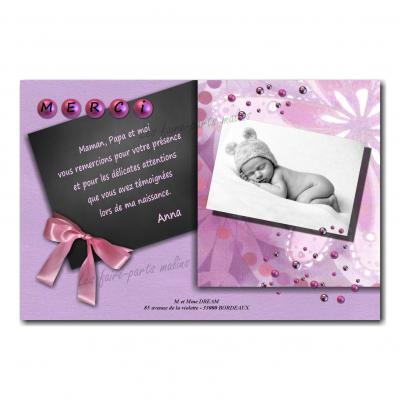 carte de remerciements boules ruban rose et gris