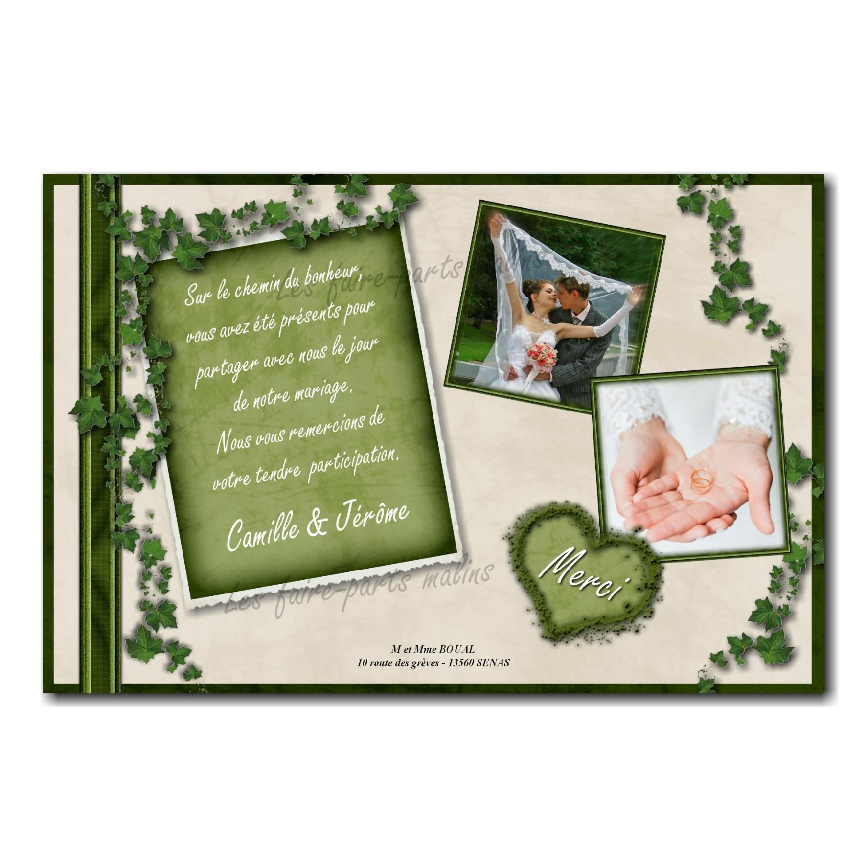 cartes de remerciements ocre et vert lierre avec deux photos