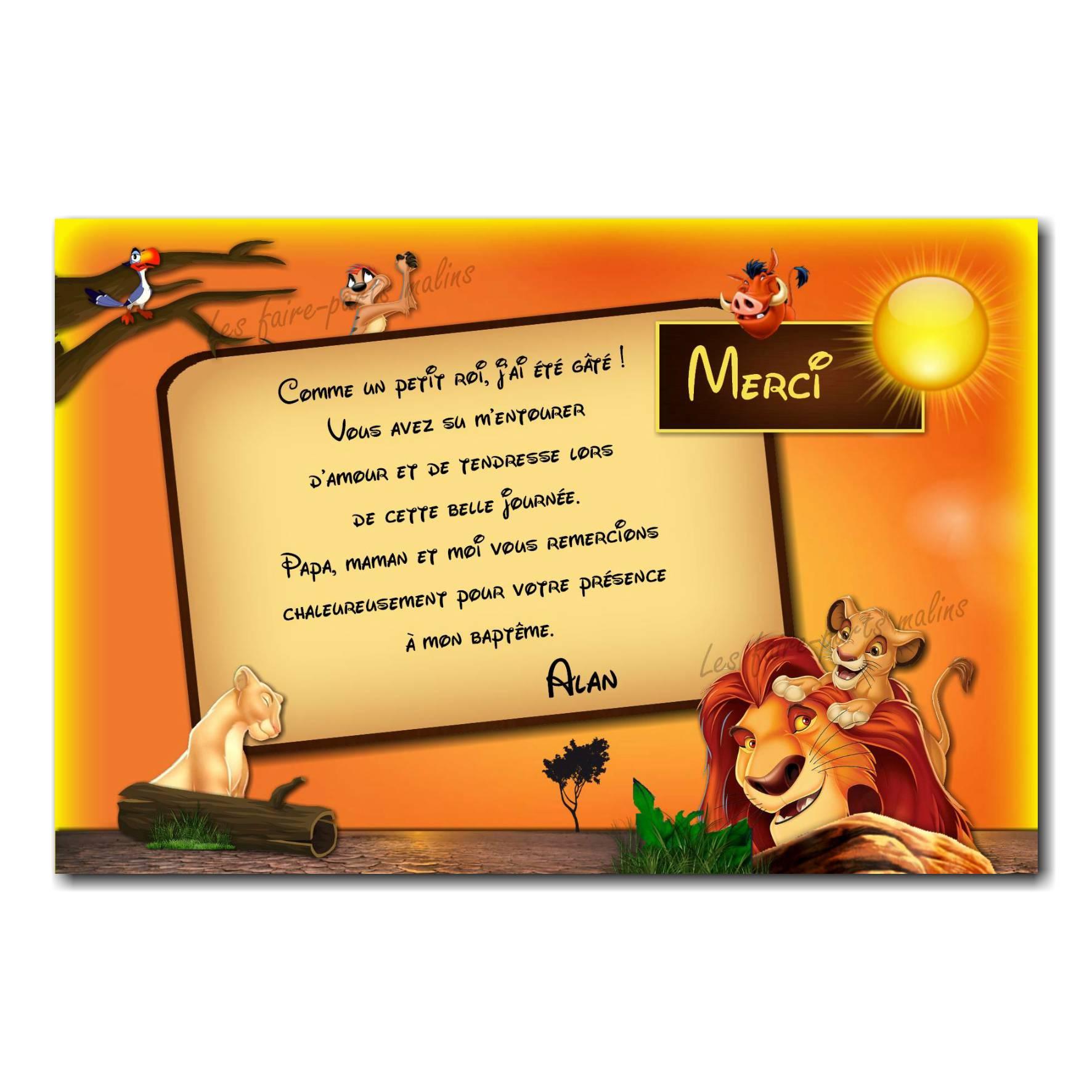 carte de remerciements simba roi lion