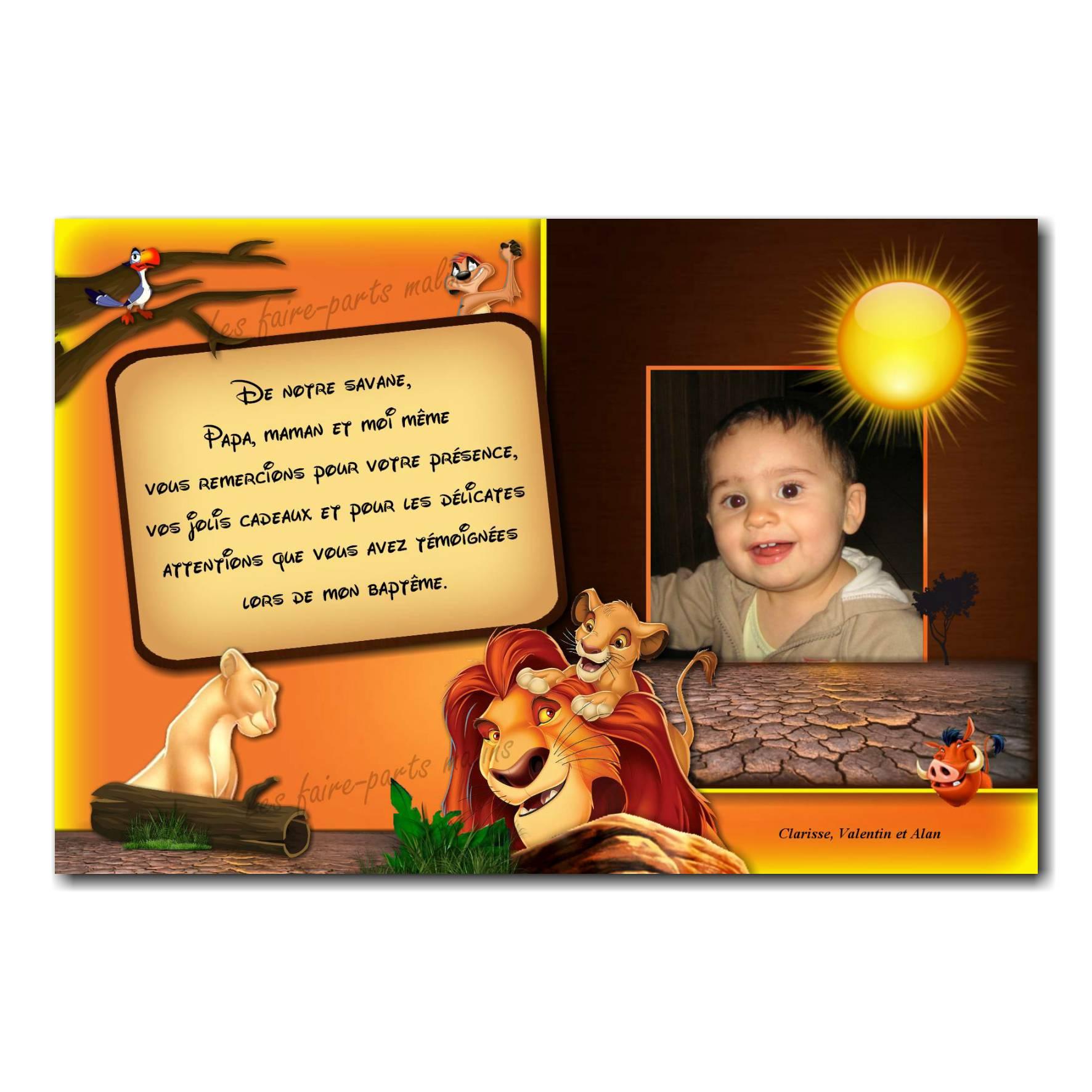 carte de remerciements roi lion et ses parents