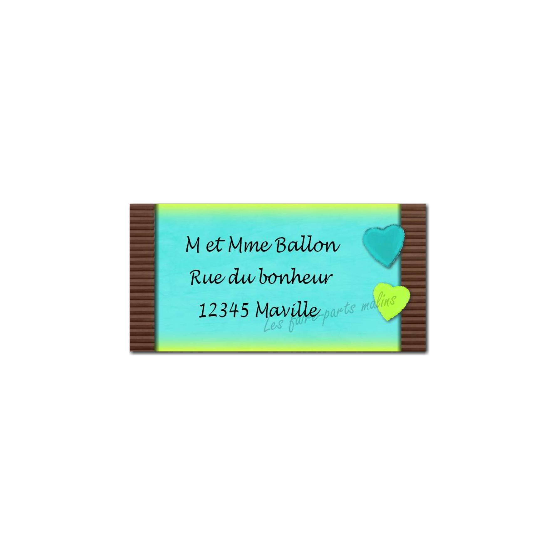 étiquette adresse bleu et marron